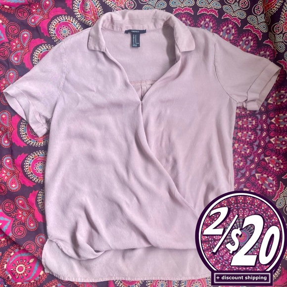2/20 Forever 21 Crossover Collared Mauve T-shirt